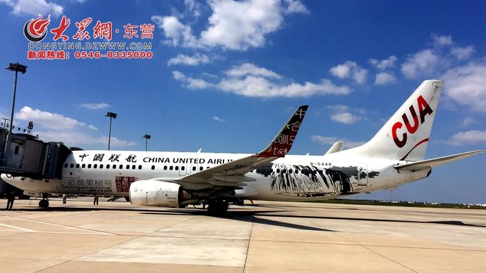 全球首架写意国画飞机降落东营胜利机场 首席云端匠人