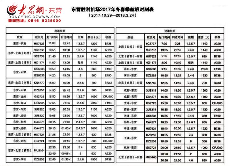 注意!即日起东营至天津dz6255次航班起降时刻有调整