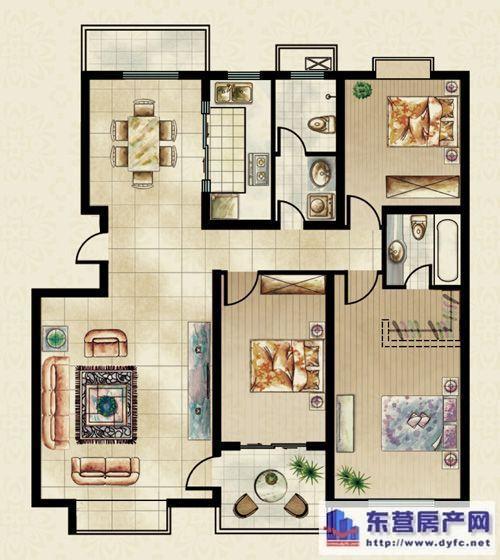 享悦家143㎡三室两厅两卫户型图片