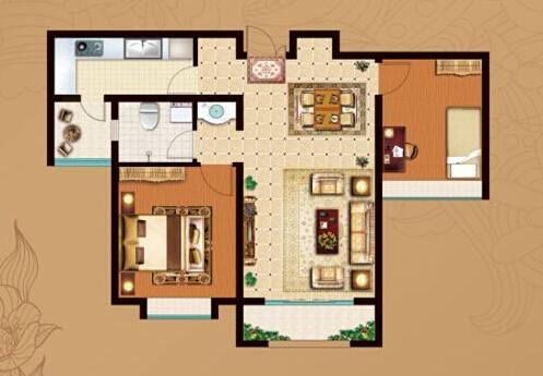 约90㎡两室两厅一卫a户型