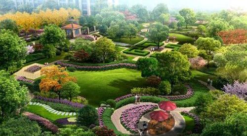 小区绿地景观采用欧式园林风格,强调中轴对称,配套植物种类丰富