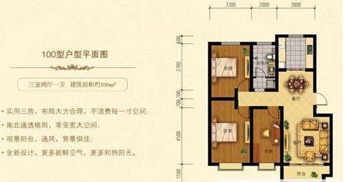 建筑面积约100㎡三室两厅一卫户型图
