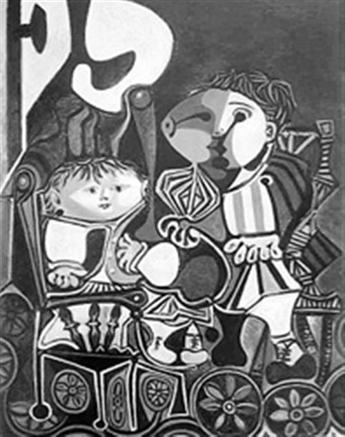 毕加索名画两个小孩高清图片