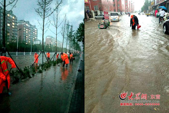 垦利区城市管理局:不惧暴雨,他们奋战在防御抢险第一线